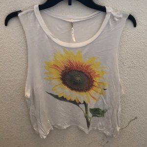 White sunflower tank top size Small cut off look